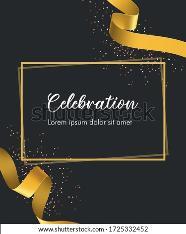 Celebration/invitation card with golden curving golden ribbon and sparkling confetti. Grand opening concept. Vector illustration template
