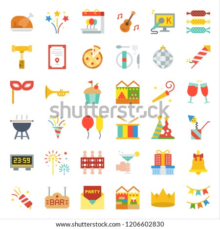 celebration new year Christmas party and  entertain event related icon such as karaoke,dinner table, barbecue grill,cheers glasses, party popper, countdown timer,surprise box, draw lots.flat design