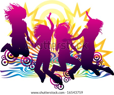 celebration of friends forever sunset beach abstract rays targets stars vector illustration - stock vector