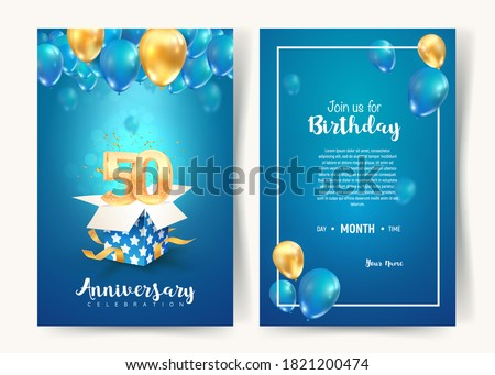 Celebration of 50 th years birthday vector invitation card. Fifty years anniversary celebration brochure. Template of invitational for print on blue background