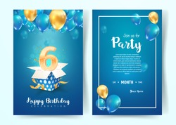 Celebration of 6 th years birthday vector invitation cards. Six years anniversary celebration. Print templates of invitational on blue background