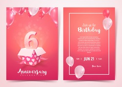 Celebration of 6 th years birthday vector invitation cards . Sixth years anniversary celebration front and back side card. Print templates of invitational on pink background