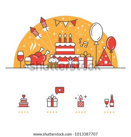 Celebration, Party banner and icons with White Background