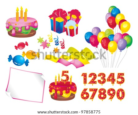 celebration set: a cake with candles, gift boxes, balloons, candy, stars, ribbons, paper, figures for dates