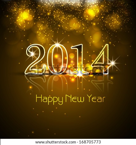 Celebration shiny colorful card New Year 2014 reflection design vector #168705773