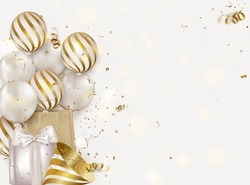Celebration template with balloons, gift box, confetti, party hat on a white background. Concept for web banner, social networks, promotional sales.Vector.