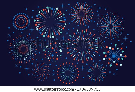 Celebration 4th July USA fireworks. Festival firecracker, colorful fireworks explosions, carnival party firework vector illustration. Firework celebration explosion, explosive firecracker