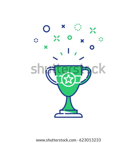 Celebration winner cup, first place award mono line icon, best results on performance, champion goblet symbol, top success concept, competition reward, game victory vector