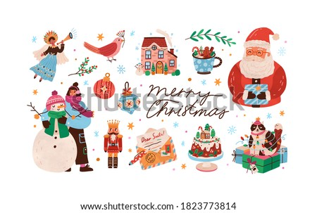Celebratory christmas set with decorations, snowman and santa claus. Xmas cute nutcracker, cat, angel, letter, cake and house. Vector flat cartoon illustration of winter holiday elements on white