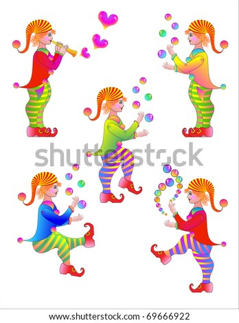 Celebratory gnomes. Vector illustration - stock vector