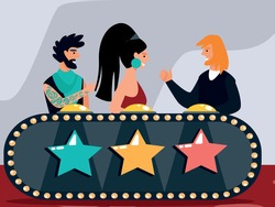 Celebrities Judging Participants during Entertainment on Talent Show or Artists Stage Audition. Judges Voting with Buttons on Desk. Popular Show of Gifted Artists Cartoon Flat Vector Illustration