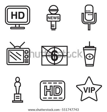 celebrities universal movie vector icons line colour big set