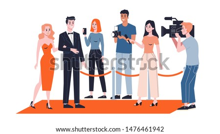 Celebrity couple on the red carpet. Paparazzi standing around. Famous person lifestyle. Young character walking. Isolated flat illustration vector