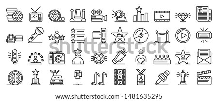 celebrity icons set outline