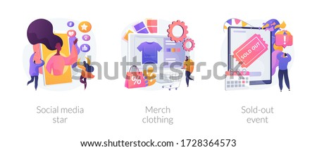 Celebrity media engagement abstract concept vector illustration set. Social media star, merch clothing, sold-out event, account monetization, branded design, show overbooking abstract metaphor.