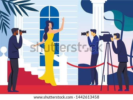 Celebrity on Red Carpet Flat Vector Illustration. Famous Woman in Fashionable Dress and Paparazzi Cartoon Characters. Prestige Show Business Event, Luxury Lifestyle. Model, Movie Star Waving Hand