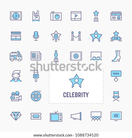 Celebrity - thin line website, application & presentation icon. simple and minimal vector icon and illustration collection. - Shutterstock ID 1088734520