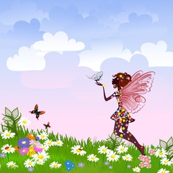 Celestial Fairy on a flower meadow