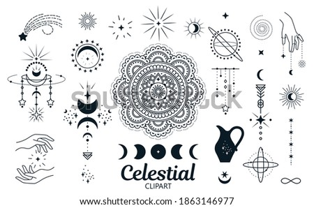 Celestial, magic clipart. Isolated vector set of decorative elements for cards, prints, stickers, posters, shirts and more. Foto d'archivio ©