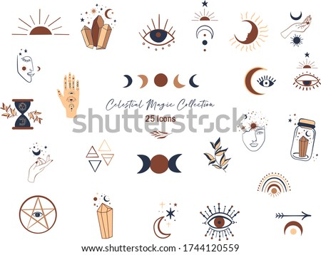 Celestial Magic illustration of icons and symbols of sun, moon, crystals, evil eye, witch hands.Set of  Esoteric symbols, alchemy and witchcraft vector art.