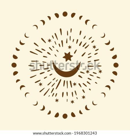Celestial moon sacred astrology circle vector card. Boho moonlight esoteric art star magic vector. Photo stock ©