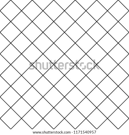 Cell, grid with diagonal lines seamless background, pattern. Tiles. Latticed geometric texture. Vector art