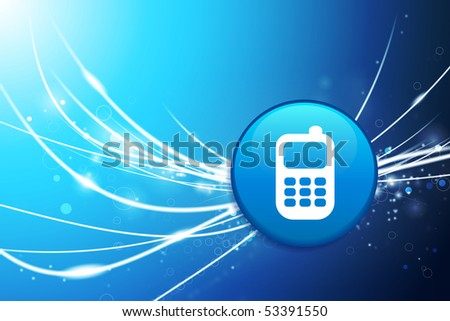 Cell Phone Button on Blue Abstract Light Background Original Illustration