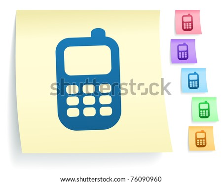 Cell Phone Icon on Post It Note Paper Collection Original Illustration