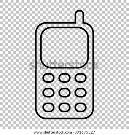 Cell Phone line vector icon on transparent background