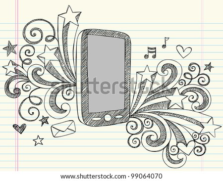 Cell Phone Mobile PDA Sketchy Notebook Doodles with Swirls, Hearts, Email, Music, and Shooting Stars- Hand Drawn Vector Illustration Design Elements on Lined Sketchbook Paper Background