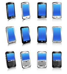 Cell Phone Smart Mobile Silver White 3D and 2D