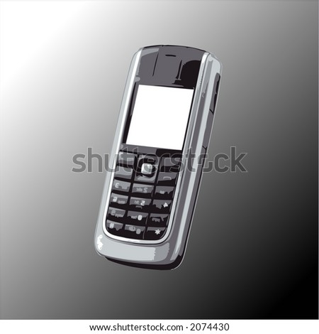 Cell phone with empty screen for your text - vector illustration