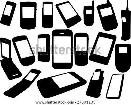 Cell phones silhouettes