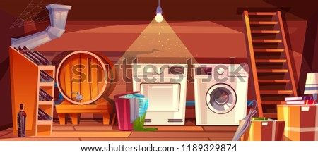 Cellar or house basement interior vector illustration of wine vault with barrel and bottles on shelf. Laundry dryer and washing machine with clothes in basket at wooden staircase on cartoon background Foto stock ©