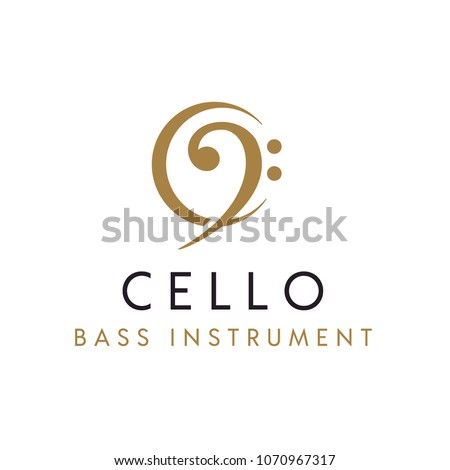Cello / Bass instrument with initial C logo design inspiration