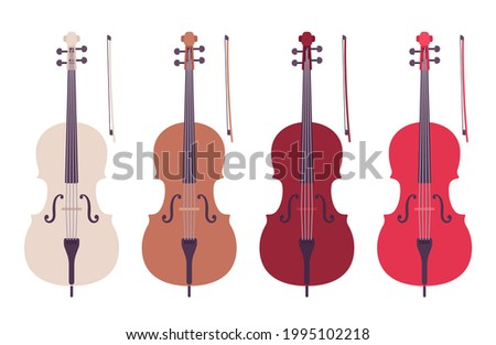 Cello double bass, symphony orchestra bowed string instrument. Concertos, solo, classical chamber music equipment. Vector flat style cartoon illustration isolated, white background, different colors Foto d'archivio ©