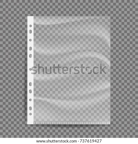 Cellophane Business File Vector. A4 Size. Empty Plastic Bag. Document Protector. Transparent Plastic Sleeve. Isolated On Transparent Background Illustration