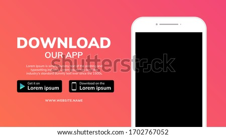 Cellphone download app landing page. Smartphone download our app mobile device banner
