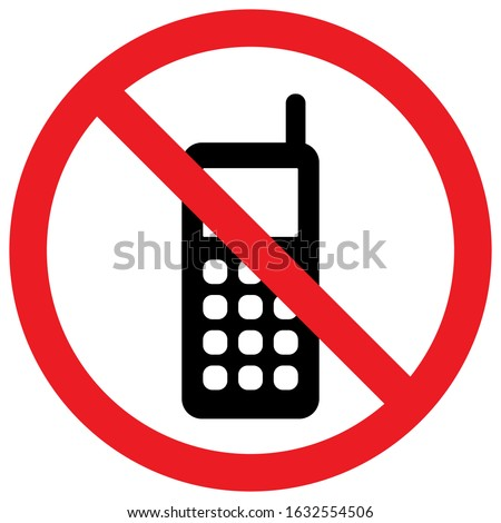 Cellphone not allowed sign vector. Turn off mobile phones. Perfect for backgrounds, backdrop, sticker, sign, symbol, label, poster, banner, notice etc.