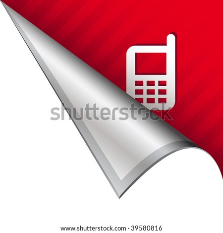 Cellphone or mobile phone icon on vector peeled corner tab suitable for use in print, on websites, or in advertising materials.