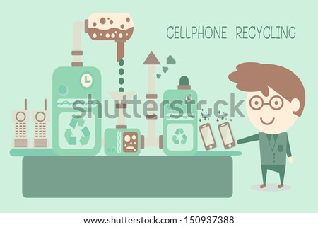 Cellphone recycling, concept recycle, vector
