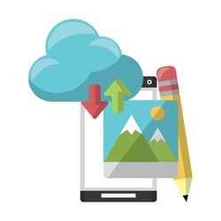 cellphone with cloud transfer pencil icon cartoon vector illustration graphic design