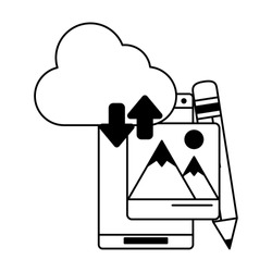 cellphone with cloud transfer pencil icon cartoon vector illustration graphic design black and white
