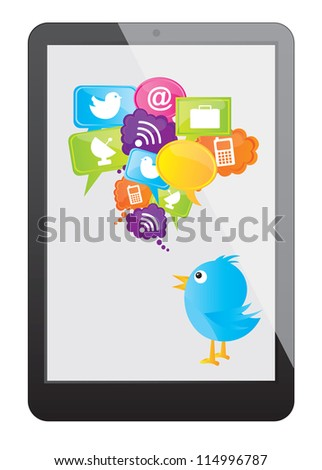 Cellphone with communications and cloud computing icons over white background