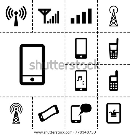 Cellular icons. set of 13 editable filled cellular icons such as signal tower, poker on phone, wavy phone, signal