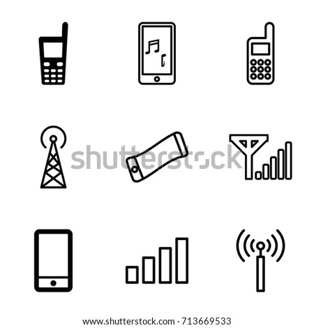 Cellular icons set. set of 9 cellular filled and outline icons such as phone, old phone, signal tower, signal
