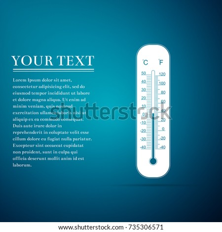 Celsius and fahrenheit meteorology thermometers measuring heat and cold icon isolated on blue background. Thermometer equipment showing hot or cold weather. Flat design. Vector Illustration