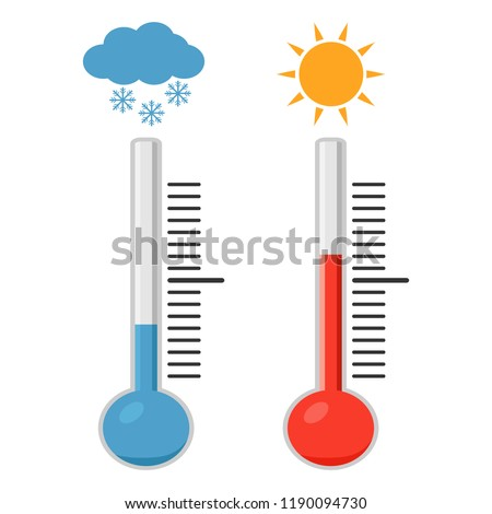 Celsius and fahrenheit meteorology thermometers measuring heat and cold. Thermometer equipment showing hot or cold weather.