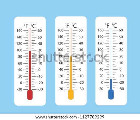 Celsius and fahrenheit meteorology thermometers measuring heat and cold, vector illustration. Thermometer equipment showing hot or cold weather