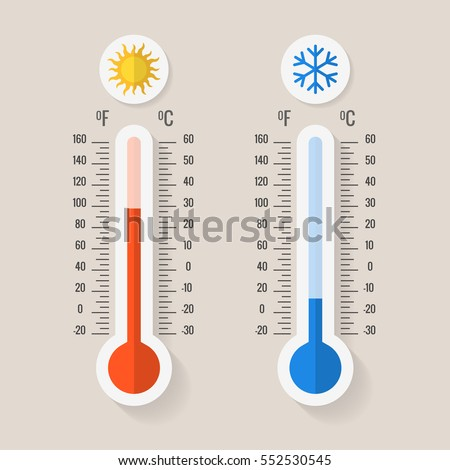 Celsius and fahrenheit meteorology thermometers measuring heat and cold, vector illustration. Thermometer equipment showing hot or cold weather.